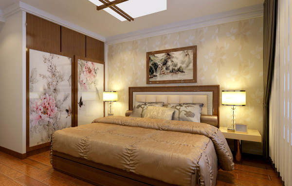 轻工业家属院三室两厅130平方户型案例,主卧室装修效果图
