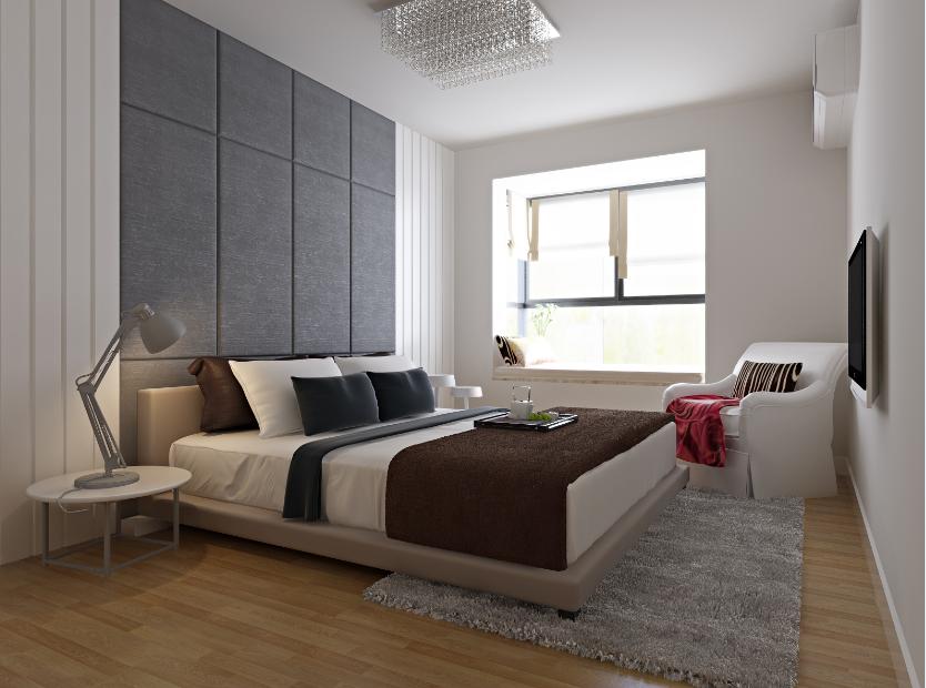 卧室图片来自唯美装饰在复地东湖国际130平现代简约的分享