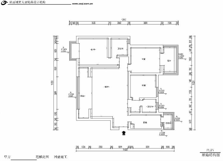 简约 三居 收纳 80后 小资 户型图图片来自西安城市人家装饰王凯在御锦城148平米现代简约风格设计的分享