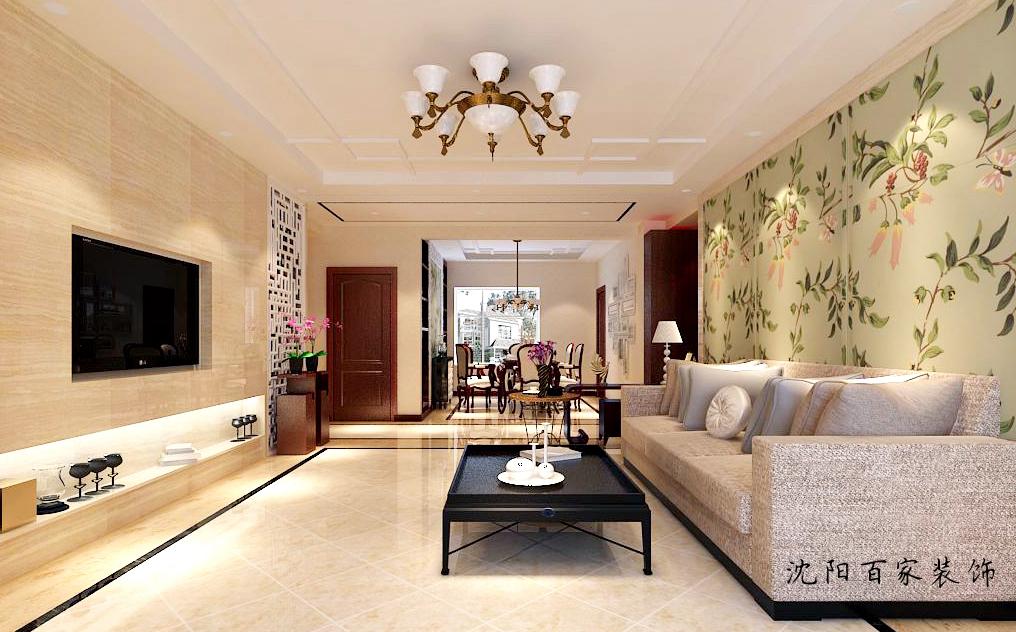 新中式 三居 客厅 餐厅 白领 小资 80后图片来自百家装饰小米在沈阳保利达江湾城的分享