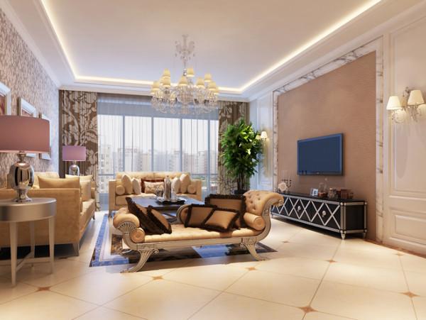 客厅实景图  设计说明:简欧风格以浅色为主深色为辅,清新的装修风格更适合中国人内敛的审美观念。金属制吊灯、精雕细琢的沙发造型,将欧式的经典体现的淋漓尽致。