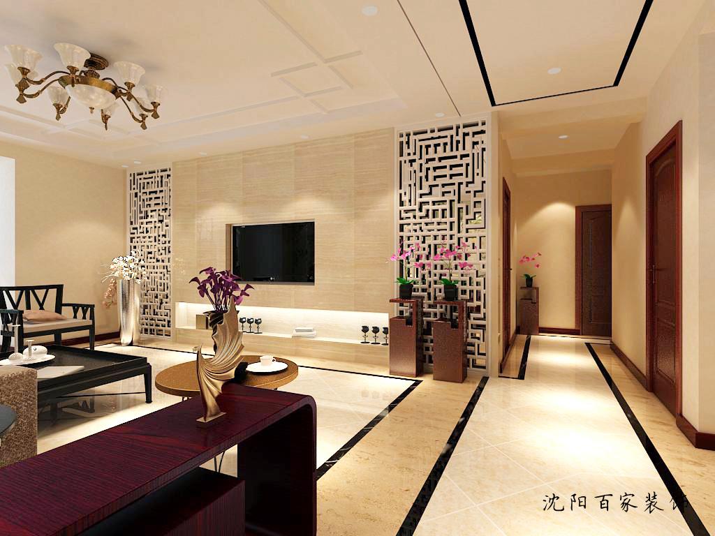 新中式 三居 客厅 餐厅 白领 小资 80后 简约 电视墙图片来自百家装饰小米在沈阳保利达江湾城的分享