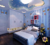 儿童房风格完全区别于客厅和主卧,选用灵巧活波的造型及色调,顶面成品定制星空主题吊顶,给人以置身星空的感觉,有助于小孩提高想象力,墙面跟顶面整体以星空蓝为主色调,让空间更加有视觉想象力和穿透力。