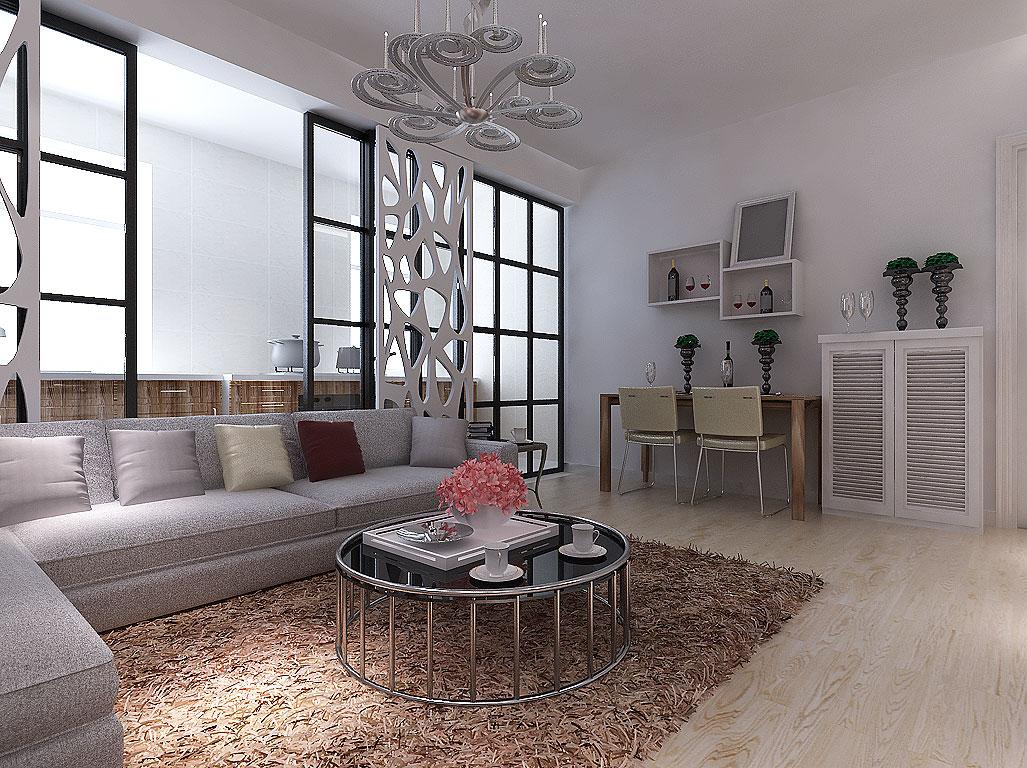 简约 二居 客厅图片来自沈阳新饰家装饰在中粮·隆玺一号75平3.4万的分享