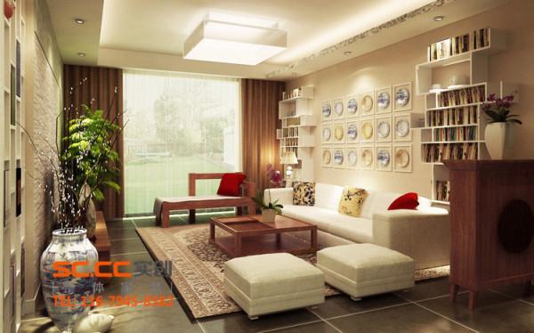 在客厅的那面墙,以咖啡色画布为基调,由几何形体组合成专供主人展示收藏的空间,青花瓷独特的质感与皮质沙发、棉麻布衣、木格雕花之间强烈的对比,这一切都体现了独创和个性。