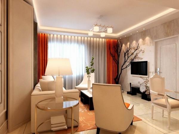 沙发选用了极具空间美感的布艺,提升空间温馨色调,客厅电视背景墙采用铁锈石找平空间,美观大方。