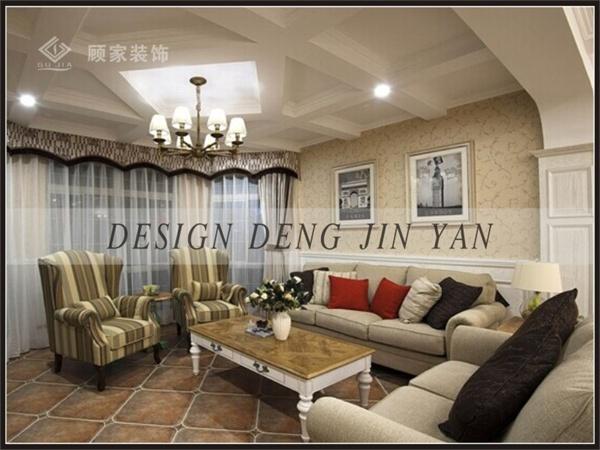 田园 美式 三居 装修 家装 效果图 客厅图片来自顾家装饰在龙天名俊的分享
