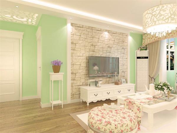 我的设计风格是田园风格。绿色清新的墙面配以海边的挂画,加上碎花 的床,一种回归自然之感。白色的衣柜增加储物空间。碎花的影视墙加白色砖 墙加以装饰。很清新。