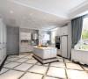 """纯白的空间内,类似""""豆腐块""""似的极简风格的沙发洋溢着年轻人独有的戏谑调调。墙壁上凹凸纹理的设计使空间内的线条跃动起来,避免平直线条多重累积的呆板。"""