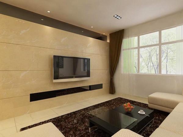 客厅影视墙面做的瓷砖影视墙造型,贴的是浅黄色瓷砖,简洁大方,沙发墙也没有过多复杂的造型,以黑白装饰画为点缀沙发墙,和经典的筒灯,加加以点缀,让业主在烦躁的外面回到家能有个安静看电视的空间