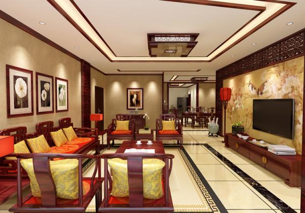 棕榈泉三居室(176平米)户型客厅效果图展示