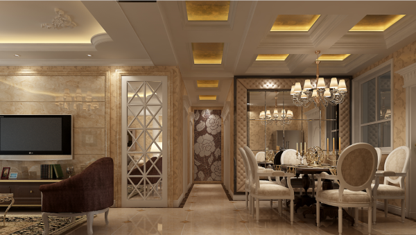 客餐厅走道的端景墙采用大幅绣花式图案,一进门就给人眼前一亮的视觉效果。