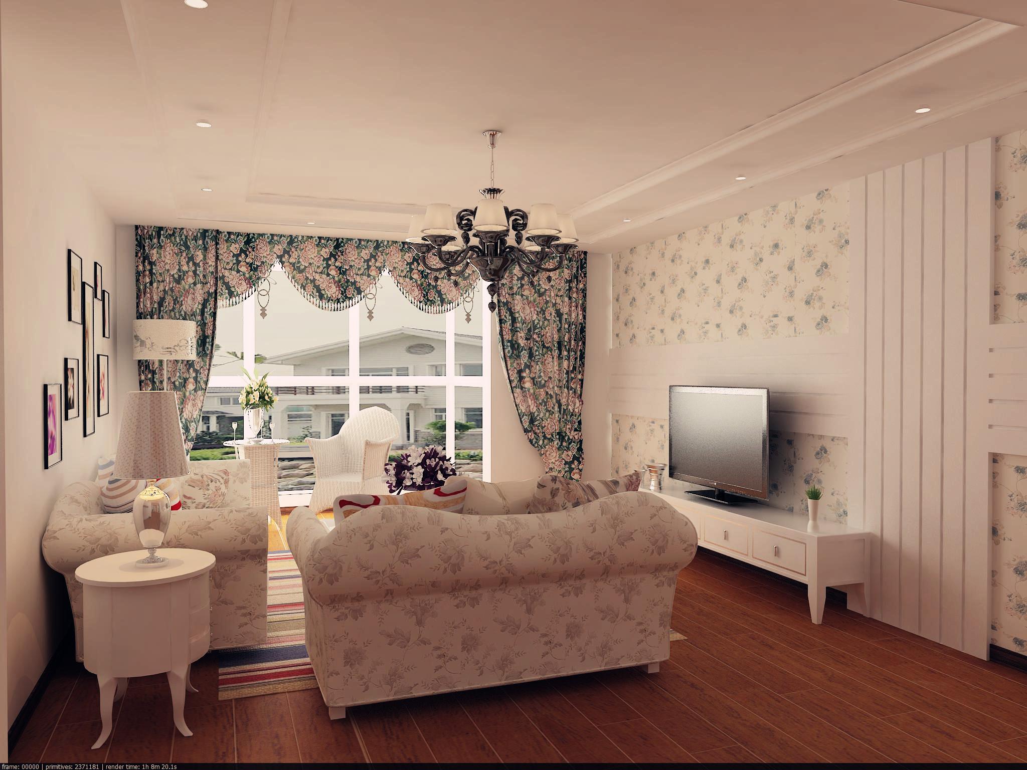 三居 田园 80后 现代田园 小清新 自然舒适 客厅图片来自实创装饰都琳在首开熙悦山—三居室现代田园风格的分享