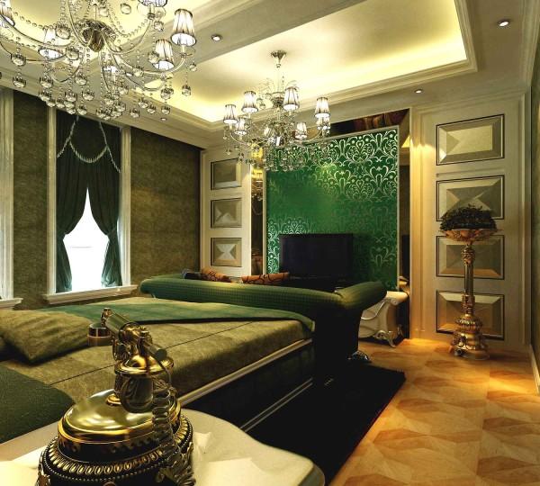 于主卧室空间比较大,我们在顶棚划分为两个区域,床头以两个将窗户的形式出现,色调的搭配上与客厅呼应。
