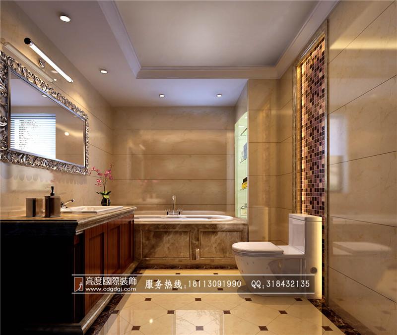 欧式 loft 80后 卫生间图片来自成都高度国际装饰娜娜在保利百合花园120loft欧式的分享