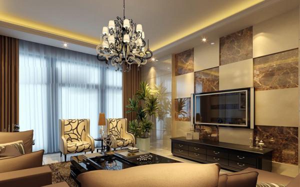 设计理念:客厅是主人与客人会面的地方,简约型家居的设计越来越受到大众的欢迎,这也是现代人的需要。客厅电视墙运用素雅的壁纸,让客厅整体看上去更加的整洁大方,没有繁琐杂物。