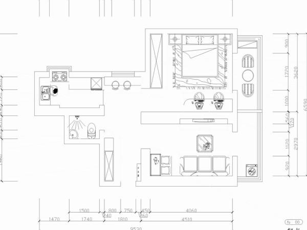 从入户门进入,左边是衣帽柜,正对着映入眼帘的是一个稍短的过道,再接着往里走,左边依次为卫生间和厨房,右边进入餐厅及客厅和阳台区域,电视背景墙后面则是主卧室,主卧室内还打造了一个150mm的榻榻米