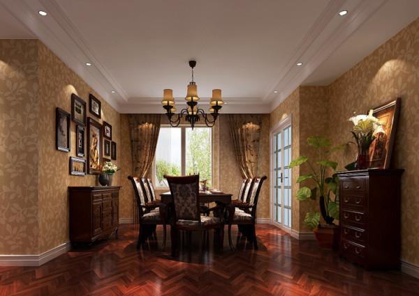 :本案的设计定位为简约美式。美式风格也是现在家装的主流风格之一,其色调以稳重的原木色卫主、墙面的鹅黄色肌理墙漆给沉重的色调调和了一抹亮。