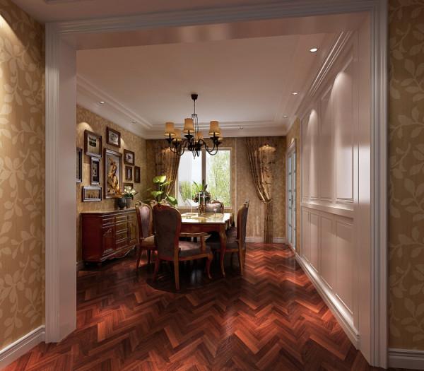 本案的设计定位为简约美式。美式风格也是现在家装的主流风格之一,其色调以稳重的原木色卫主、墙面的鹅黄色肌理墙漆给沉重的色调调和了一抹亮。