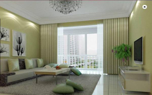 设计理念:客厅用石膏线整个圈线两圈,整个的墙面换了一个颜色,和顶面有一个颜色的过度,让人有视觉的冲击感,整个空间简单明快