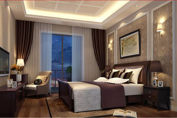 卧室宽敞和明亮,大大的阳台,大大的整面墙落地窗,这样的卧室无论怎么设计都是给人一种无穷的魄力和温馨浪漫感,米色的墙面,给整个空间增加了稳重氛围。