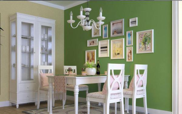 设计理念:餐厅没有做造型,就是用了一个绿颜色的漆让整个空间的功能区有一个划分,而且能有视觉的冲击感,给人一种小清新的感觉