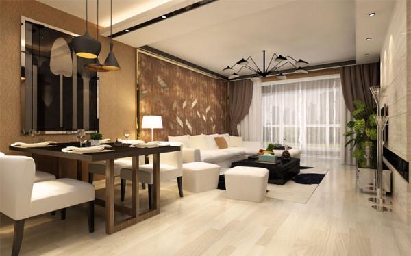 餐厅选用大量的暖色壁纸与客厅的壁纸互相结合,将原本的两个空间互相融合,再融合之中,让原本狭小的餐厅看起来更加的浪漫且不失温馨。