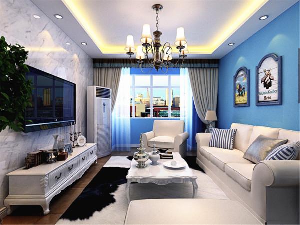 对于地中海风格来说,白色和蓝色是两个主打,因此,该户型主要以白色和蓝色为主。客餐厅区域选择了蓝色的乳胶漆,沙发背景墙放置了三幅地中海风格的画,起到了画龙点睛的作用。