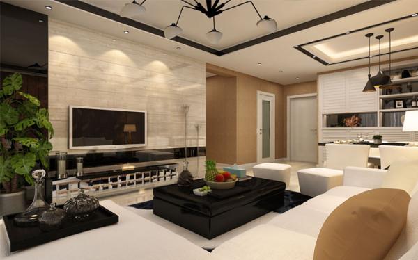 在有限的空间里运用合理,温馨放松欢快的格调,更完美的展示了家的味道。以白色的软装配饰与电视背景墙的暖色石材互相呼应,将整个空间衬托的简约且大气。