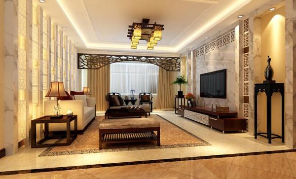 客厅大气、简约、沉稳,采用了汉白玉大理石高档材质。没有过多累赘复杂的造型,以简洁的几何形体镂空雕花诠释了主人的内蕴品性。沙发造型实木家具,稳重又不失简约