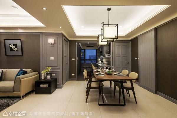 壁纸与漆料的运用,在空间中创造了灰阶的深浅层次,以餐厅空间为空间枢纽,巧妙规划入主卧、客用卫浴、游戏室与开放式的书房空间。