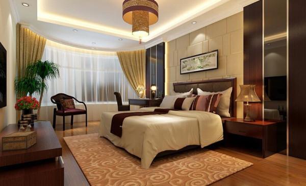 主卧室床头背景墙和吊顶空间结合,是整个房间最有特色的地方。花梨木色的木质再配以高贵典雅的仿古灯,不约而同的色调文化使整个房间的贵族气质显现得淋漓尽至