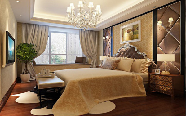 设计理念:卧室已温馨为主,搭配紫棕色软包,凸显贵气与浪漫。