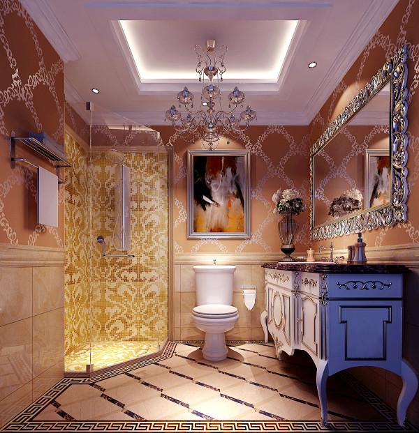 地面石材采用编织拼贴的方式,柔化了石材的质感嵌以金属马赛克,简单中蕴含着变化。楼梯下方经过巧妙的处理,成为空间中的景观,池中的几尾红色的金鱼为静谧的空间增添了动感。洗手间的墙面采用马赛克拼贴