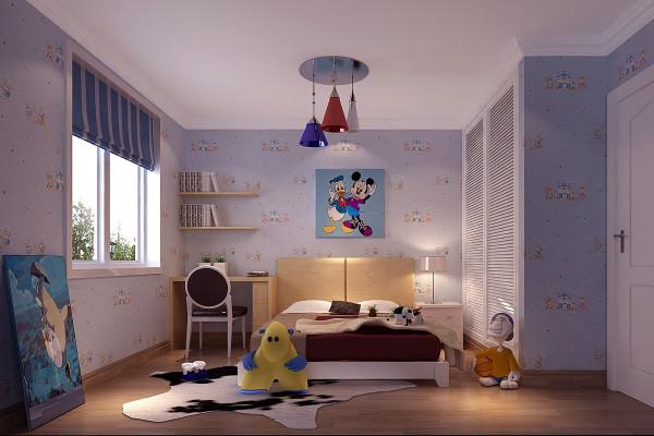 """儿童房采用""""树屋""""的理念设计,活动区采用彩绘的方式,大树,小鸟,树屋等元素营造出有趣的儿童活动空间,简单的图案元素存在于儿童拥抱幻想的每一次飞翔,更以此房子接受来往目光的关心与爱抚"""