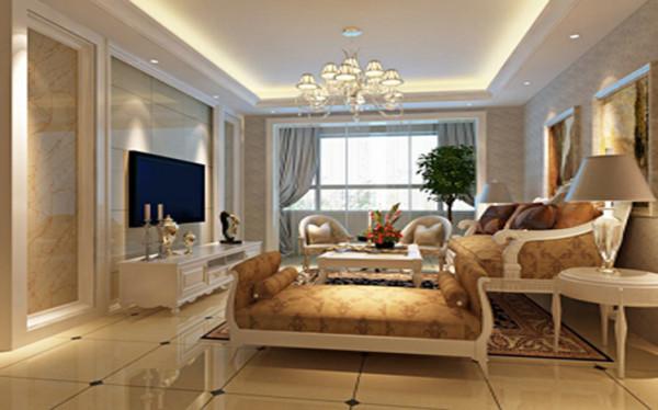 设计理念:客厅的影视墙采用石材上墙,运用壁纸搭配,奢华中略带低调。