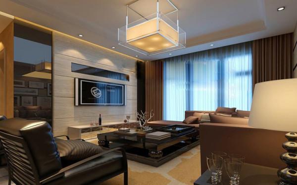 设计理念:客厅富于时尚现代感,而又不失沉稳,灯具精心选用现代中式风格予以装饰。
