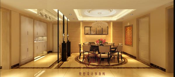 餐厅北边墙面设计师设计了造型,并用灯带做装饰,显得更温馨,设计注重细节