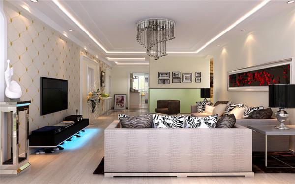客厅最大的亮点是简洁的直线吊顶,圆形的水晶灯,配上咖色的家具,简简单单而又不失简明的气氛,花色抱枕配合恰到好处,红色的沙发背景墙壁画,把室内带来了活泼与生气。