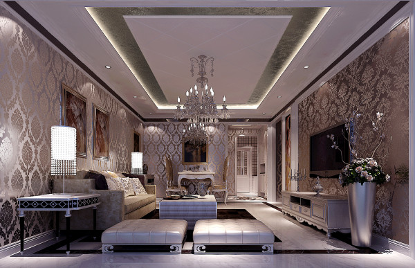 现代工艺重新演绎,配以等光的设计,使整个空间奢华,浪漫,自然,悠闲的生活情趣尽显跟前。沙发背景墙采用用镜面和屏风隔断的处理手法,使整个空间视觉效果得以延伸,丰富了空间表情