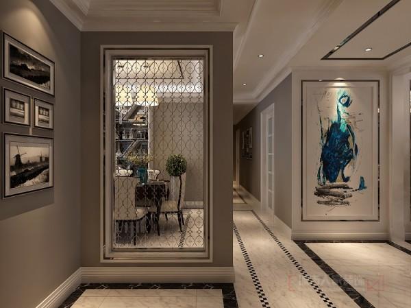 进门玄关,应用现代金属质感镂空花板,使得入门的整体空间迂回而紧凑。