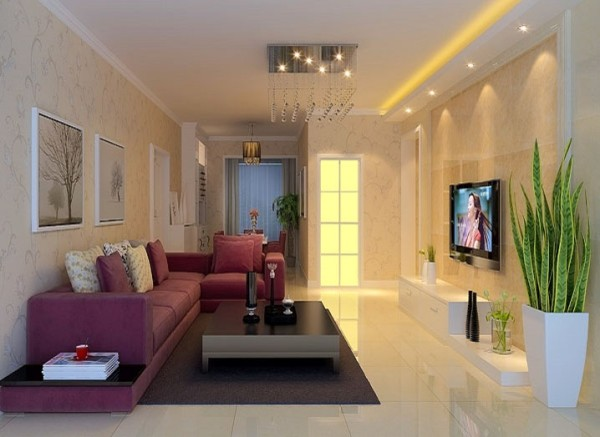 设计理念:简单而不失单调的客厅以暖色调为主,巧妙的利用墙纸来搭配整个客厅。 亮点:利用微晶砖作为背景使得整个客厅焕然一新,简单而不奢华,显示出业主的品味。