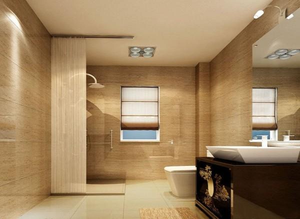 设计理念:现代洗浴设备装点纯西式的浴室空间搭配砖的色调让空间顿时变得奢华高贵。亮点:暖色调墙砖虽然采用古典欧式花纹,但充满了现代感。