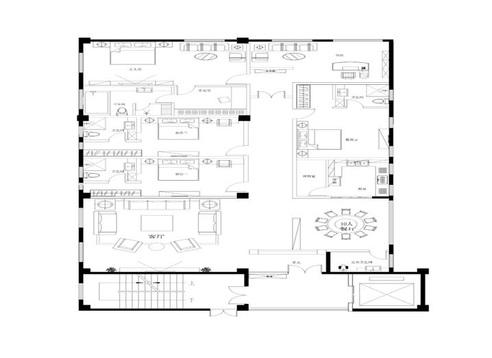 简约 五居室 260平米 小资 实创装饰 户型图图片来自传承正能量在43万打造260平简欧五居室的分享