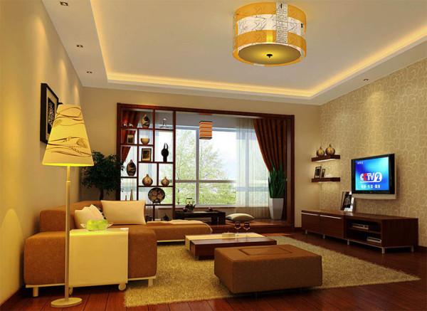客厅是人们生活的另一个重心,走进一个家中,首先映入眼帘的往往就是客厅,整个客厅呈现出雍容大气之风,阳台的实木搁架增加了客厅的品质感,屋顶上的投射灯,让客厅充满了浪漫的气氛。