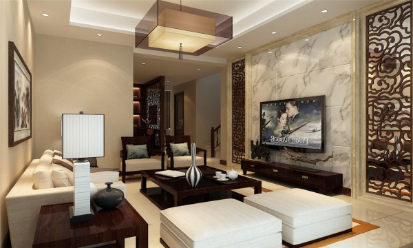保利茉莉公馆别墅户型装修新中式风格设计方案展示——上海聚通装潢!