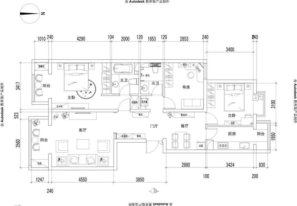 三居 白领 收纳 80后 小资 户型图图片来自实创装饰完美家装在华业东方玫瑰108平田园风格案例的分享