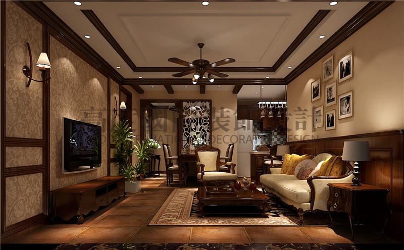 成都高度 别墅装修 别墅装饰 住宅装饰 中冶中央公 88㎡ 美式风格 二居 客厅图片来自北京高度国际装饰设计成都分公司在中冶中央公园-88㎡-美式风格的分享