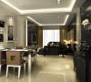 餐厅的一个别样的设计,,用黑白色这经典搭配与不同材质的完美搭配,形成了不一样的繁华。它采用了玻璃和地砖的反光性使得空间不那么暗淡,与墙相呼应。