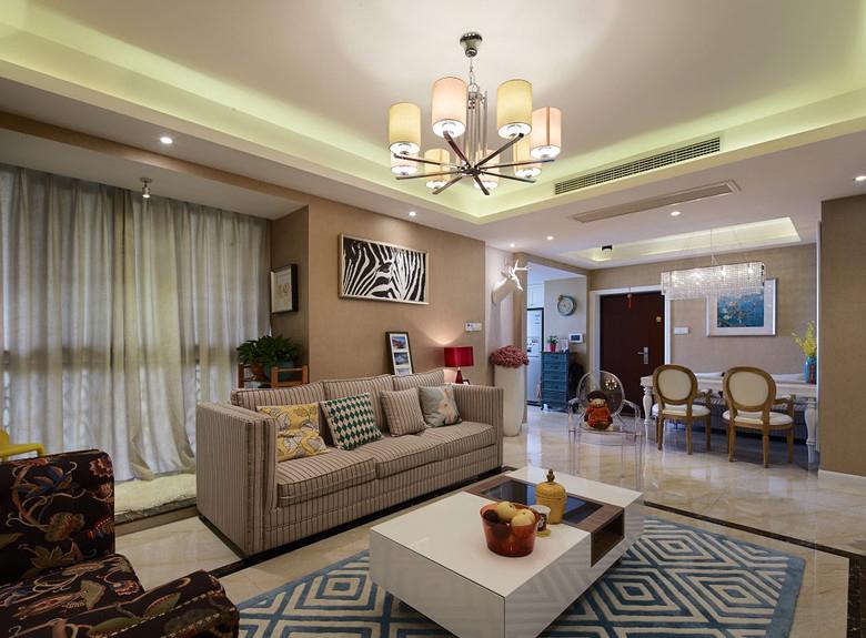 客厅图片来自家装大管家在112平美式混搭屋 豪华大气显典雅的分享